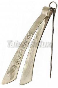 Щипцы для кальяна Серебро Перо 16 см